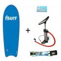 """Pack Pro ISURF 5'4""""+Hinchador+Leash+Wax"""