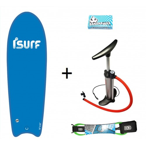 "Pack Pro ISURF 5´4""+Hinchador+Leash+Wax"