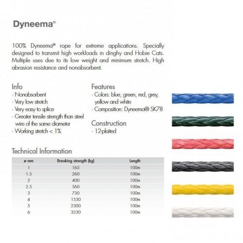 Linea Dynema Kite B3 Blanco 2 mm (1m)