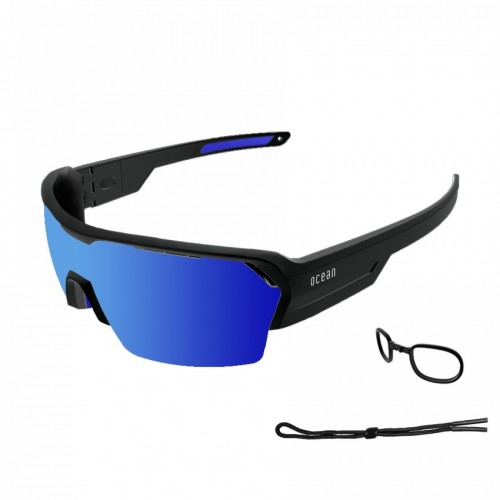 Ocean Glass Race Matte Black With Revo Blue Lens